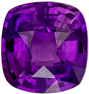 Lovely No Heat GIA Certified Sapphire Genuine Gem, 1.61 carats, Rich Purple, Cushion Cut, 6.97 x 6.62 x 4.02 mm