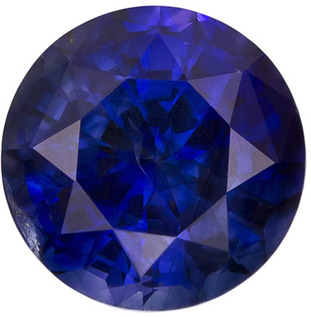 1.62 carats Blue Sapphire Loose Gemstone in Round Cut, Rich Blue, 6.95 mm