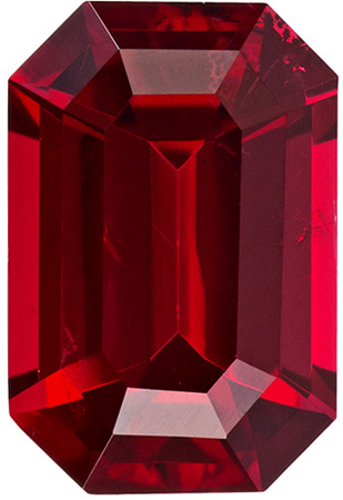1.62 carats Red Spinel Loose Gemstone in Emerald Cut, Pure Rich Red, 8.2 x 5.5 mm