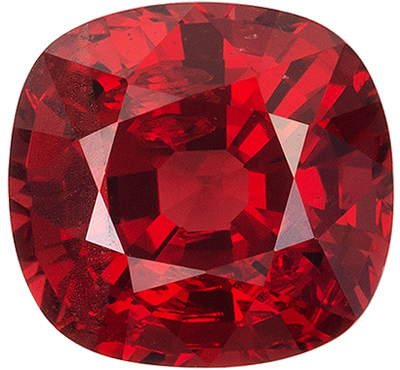 Totally Eye Clean Spinel Natural Gem, 6.9 x 6.5mm, Open Rich Red, Cushion Cut, 1.62 carats