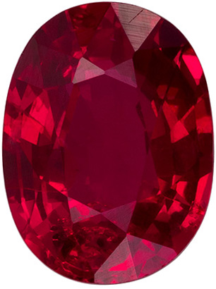 1.66 carats - GIA Certified Unheated Ruby Gemstone in Fine Pigeon's Blood Color, 8.0 x 6.0 mm Oval Cut Gemstone