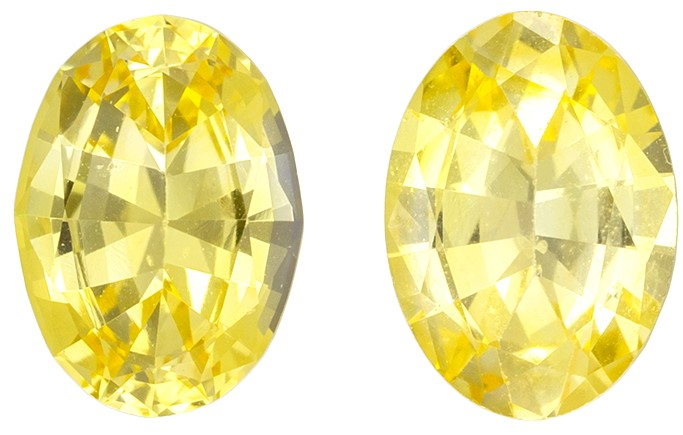 Natural Yellow Sapphire Gemstones, 1.66 carats, Oval Cut, 7 x 5  mm , Matching Pair, Very High Quality Gems