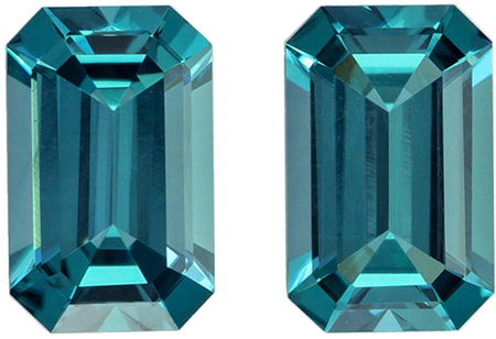 Rare Blue Color Tourmaline Matched Pair 1.68 carats, Emerald shape gemstone, 7.3 x 4.6  mm