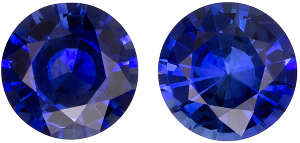 1.7 carats Ceylon Blue Sapphires in Round Cut Matched Pair in Intense Rich Blue, 5.9 mm Size