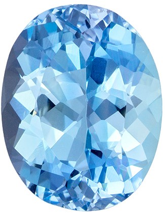 Perfect Ring Size 1.72 carats Aquamarine Loose Gemstone in Oval Cut, Vivid Blue Color, 8.9 x 6.9 mm