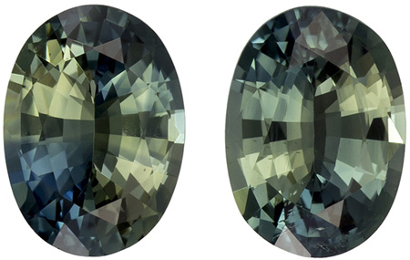 1.72 carats Green Sapphire Matched Gemstone in Pair in Oval Cut, Medium Green, 6.7 x 4.9 mm