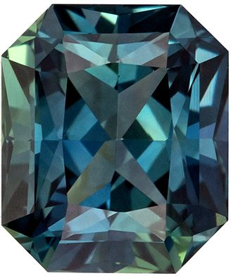 Attractive GIA Certified No Heat Sapphire Loose Gem Radiant Cut, Teal Blue Green, 7.11 x 6.01 x 4.36 mm, 1.75 carats