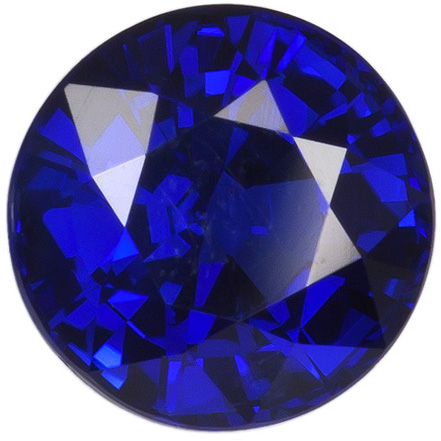 1.75 carats Blue Sapphire Loose Gemstone in Round Cut, Vibrant Rich Blue, 6.8 mm