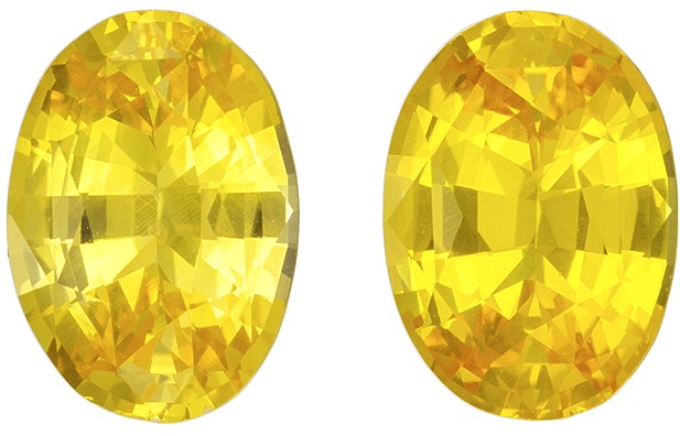 Great Deal on Yellow Sapphire Genuine Gemstones, 1.76 carats, Oval Cut, 7 x 5  mm , Matching Pair
