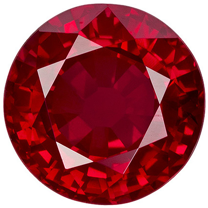 1.77 carats Ruby Loose Gemstone in Round Cut, Rich Red, 6.8 mm