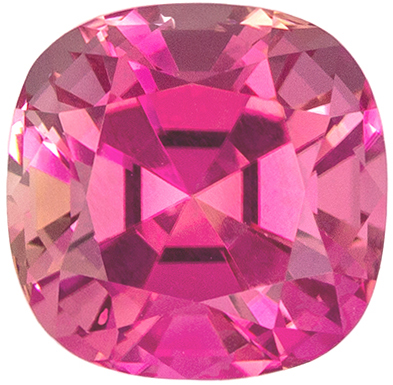 So Pretty 1.77 carats Pink Tourmaline Cushion Genuine Gemstone, 7 mm