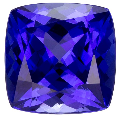 1.78 carats Tanzanite Loose Gemstone in Cushion Cut, Rich Blue Purple, 7.1 mm