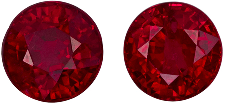 1.79 carats Ruby Well Matched Gem Pair in Round Cut, Open Red, 4.9 mm