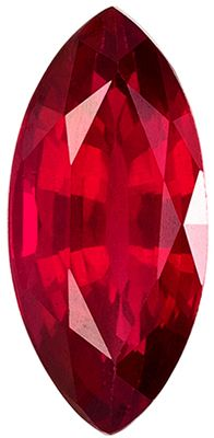 Bright & Lively Ruby Genuine Loose Gemstone in Marquise Cut, 1.79 carats, Vivid Medium Rich Red, 10.9 x 5.1 mm