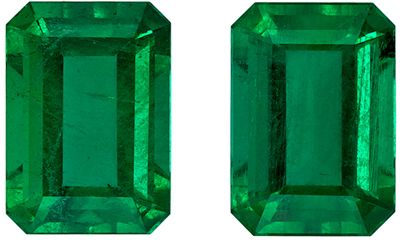 Wonderful Emerald Gem Pair, 1.8 carats, Medium Rich Green, Emerald Cut, 7 x 5mm
