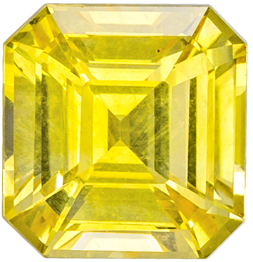 Highly Requested Sapphire Natural Gem, 6.8 x 6.5mm, Pure Yellow, Emerald Cut, 1.8 carats