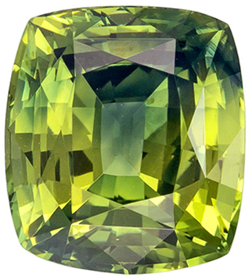 Rare Color in 1.81 carat Bicolor Yellow Green Sapphire Cushion Cut with GIA Certificate