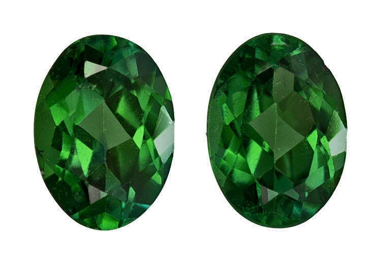 Pair of Genuine Green Tourmaline 1.81 carats, Oval shape, 7 x 5  mm