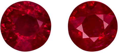 Beautiful Ruby Gem Pair, 1.86 carats, Vivid Rich Red, Round Cut, 5.7 mm