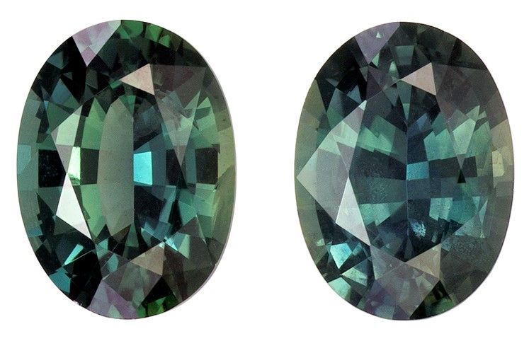 Authentic Blue Green Sapphire Gemstones, Oval Cut, 1.89 carats, 6.8 x 5 mm Matching Pair, AfricaGems Certified - A Deal