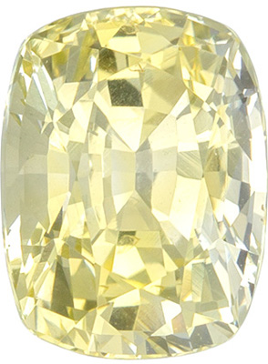 Very Desirable Untreated Cushion Cut Yellow Sapphire Loose Gem, 7.63 x 5.82 x 4.81 mm, Pastel Pure Yellow Color, 1.9 carats, GIA Certified