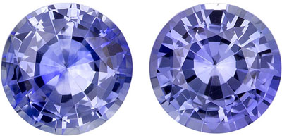 1.91 carats Blue Sapphire Matched Gemstone in Pair in Round Cut, Vivid Cornflower Blue, 5.9 mm
