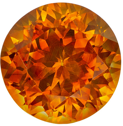 Gorgeous 1.93 carat Orange Sapphire Gemstone in Round Cut 7.1 mm