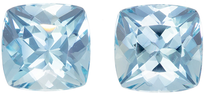 Wonderful Aquamarine Matched Pair, 6 mm, Medium Sky Blue, Cushion Cut, 1.94 carats