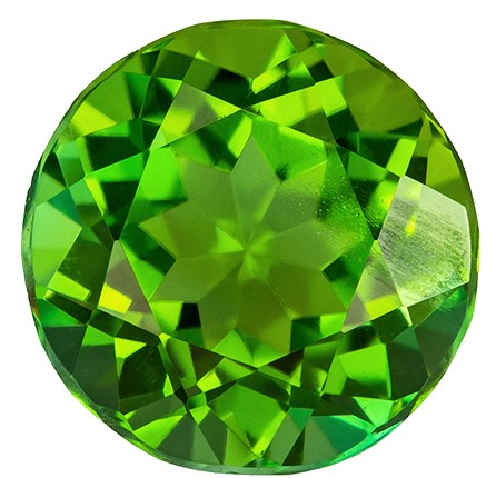1.94 carats Green Tourmaline Loose Gemstone in Round Cut, Medium Grass Green, 7.8 mm