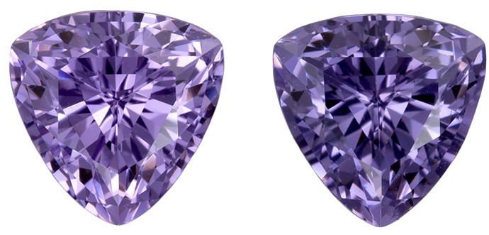 Loose Natural Purple Spinel Gemstones, 1.96 carats, Trillion Cut, 6.2 mm , Matching Pair