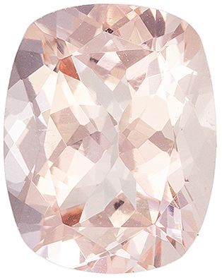 Natural Loose 1.97 carats Pink Morganite Cushion Genuine Gemstone, 9 x 7.1 mm