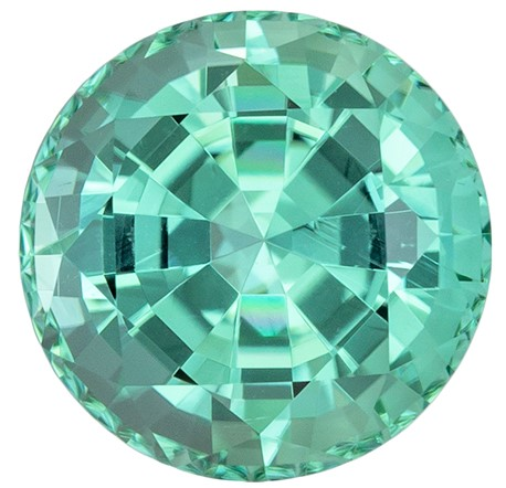 Great Deal on Blue Green Tourmaline Genuine Stone, 1.98 carats, Round Cut, 7.5 mm , Amazing Color Low Price