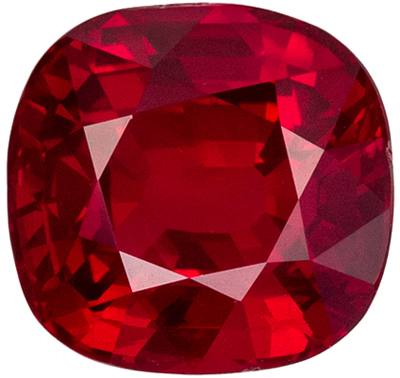 Very Desirable Ruby Natural Gem, 7.1 x 6.8mm, Vivid Pigeons Blood Red, Cushion Cut, 1.98 carats