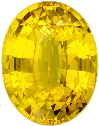 10.1 x 7.8 mm Yellow Sapphire Genuine Gemstone in Oval Cut, Pure Rich Yellow, 3.08 carats