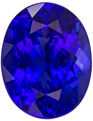 10.1 x 7.9 mm Tanzanite Genuine Gemstone in Oval Cut, Vivid Blue Purple, 3.1 carats