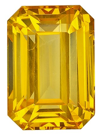 Natural  Very Fine Large GIA  Yellow Sapphire Gemstone 10.18 carats, Emerald Cut, 13.59 x 9.53 x 7.12 mm