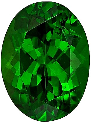 10.2 x 7.5 mm Chrome Tourmaline Genuine Gemstone in Oval Cut, Pure Rich Green, 2.62 carats