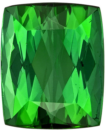 10.4 x 8.5 mm Green Tourmaline Genuine Gemstone in Cushion Cut, Rich Pure Green, 4.9 carats