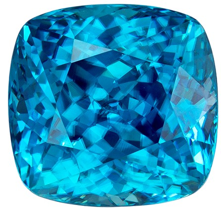10.45 carats Blue Zircon Loose Gemstone in Cushion Cut, Intense Blue, 11.1 x 10.7 mm