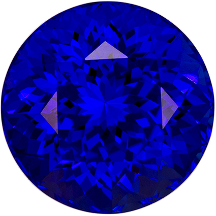 10.5 mm Tanzanite Genuine Gemstone in Round Cut, Vivid Blue Purple, 5.94 carats