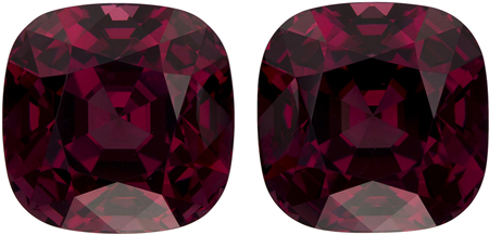 10.5 x 10.5 mm Rhodolite 2 Piece Matched Pair in Cushion Cut, Vivid Raspberry, 16 carats
