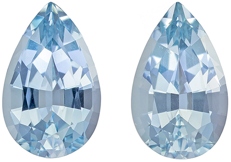 10.5 x 6.5 mm Aquamarine Well Matched Gem Pair in Pear Cut, Rich Blue, 3.66 carats