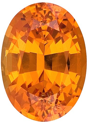10.5 x 7.5 mm Orange Spessartite Genuine Gemstone in Oval Cut, Mandarin Color, 3.66 carats