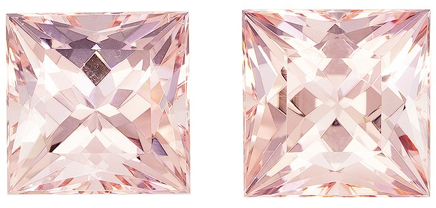Low Price Pink Morganite Loose Gemstones, 10.54 carats, Princess Cut, 10.1 mm , Matching Pair