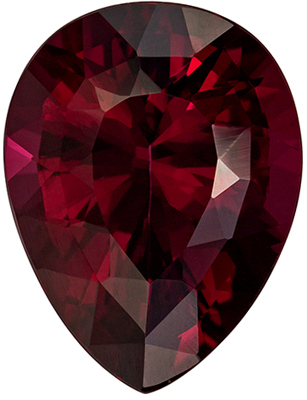 Bright & Lively Pear Cut Red Rhodolite Loose Gem, 15.5 x 11.9 mm, Vivid Raspberry Red, 10.59 carats