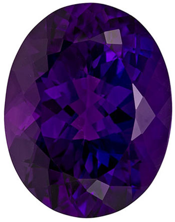 10.78 carats Amethyst Loose Gemstone Oval Cut, Vivid Purple, 17 x 13.3 mm