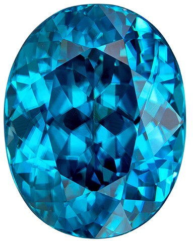 10.8 x 8.4 mm Blue Zircon Genuine Gemstone in Oval Cut, Vivid Teal Blue, 6.04 carats