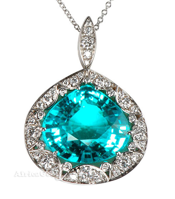 10 ct + Gem Paraiba Tourmaline & Diamond One of A Kind Pendant by Christoph  - SOLD