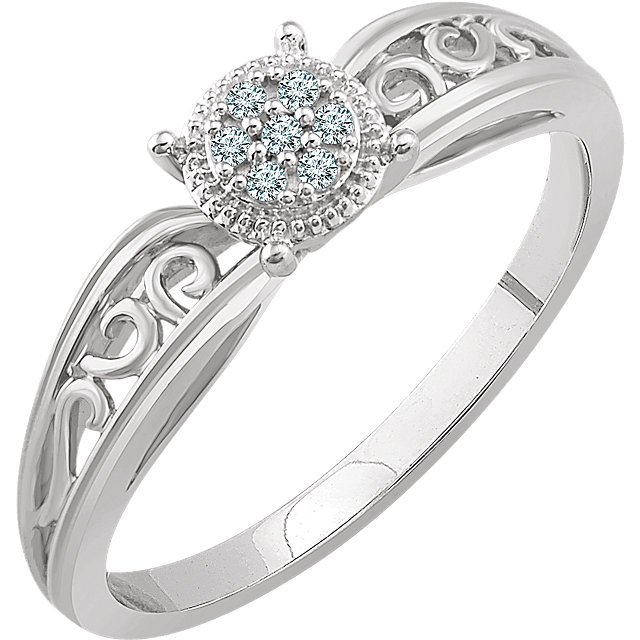 Contemporary 10 Karat White Gold .05 Carat Total Weight Diamond Promise Ring
