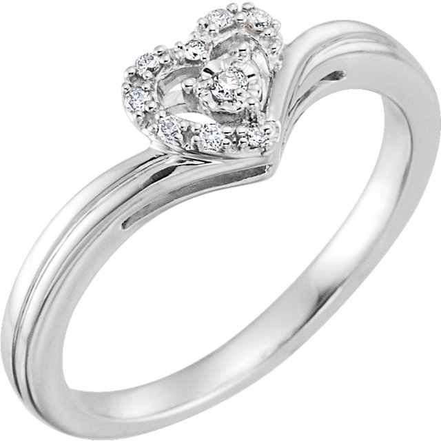 Wonderful 10 Karat White Gold .06 Carat Total Weight Diamond Heart Promise Ring